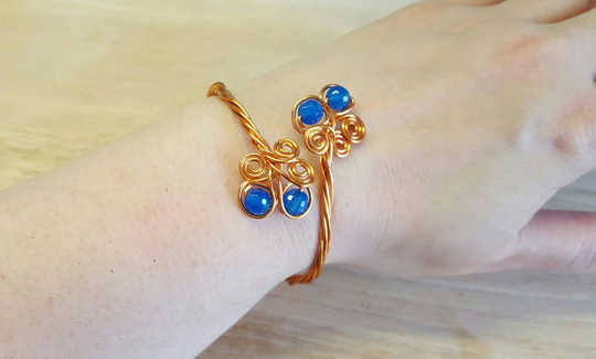 Copper Blue agate Cuff bracelet