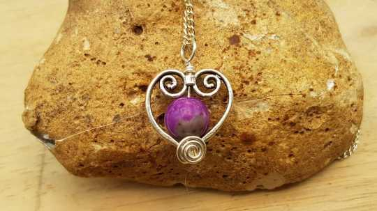 Purple Sugilite heart pendant