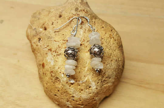 Bali silver Moonstone earrings
