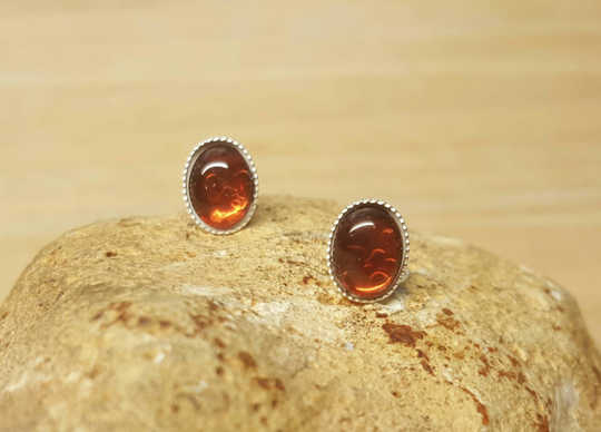 Sterling silver Red Garnet stud earrings
