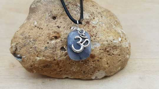 Grey marble Om necklace