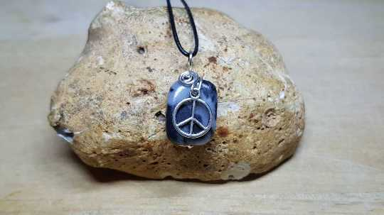 Marble Peace sign necklace