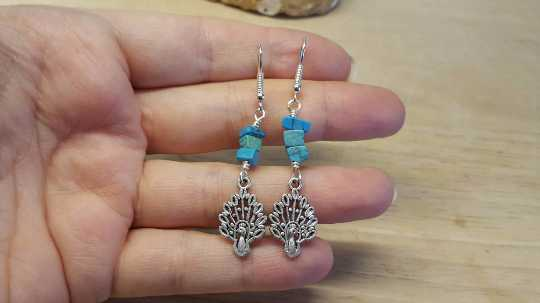 Turquoise peacock earrings.