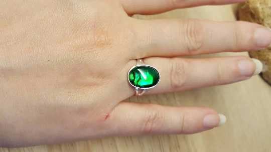 Green abalone ring