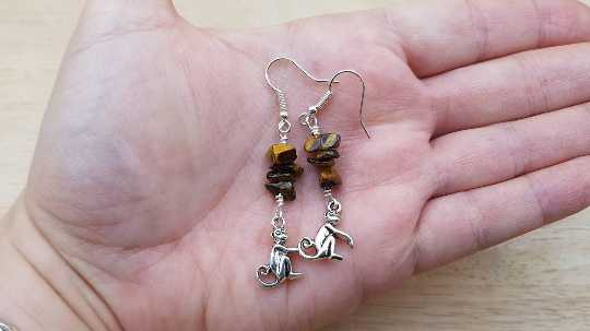 Tigers eye monkey earrings