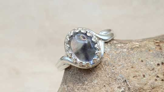 Oval Rainbow Fluorite Ring 10mm