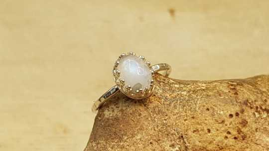 Minimalist Rainbow moonstone Ring
