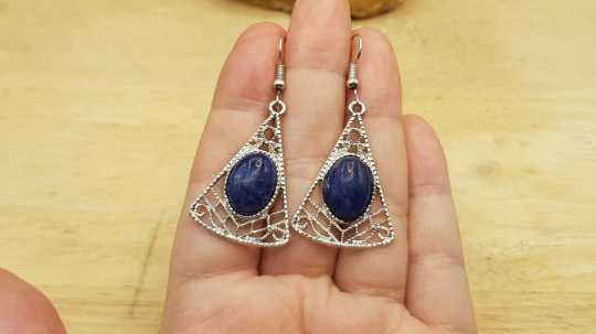 Boho triangle Sodalite earrings