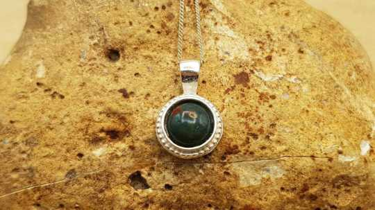Tiny Bloodstone pendant 12mm