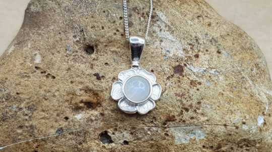 Tiny Rainbow Moonstone flower Pendant