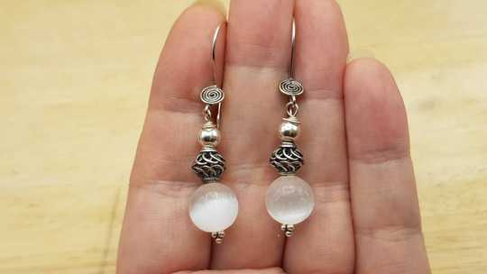 Selenite sphere earrings