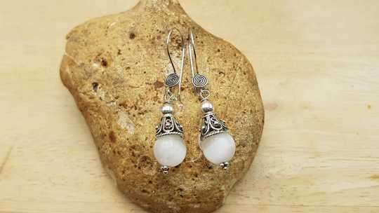 Selenite cone earrings