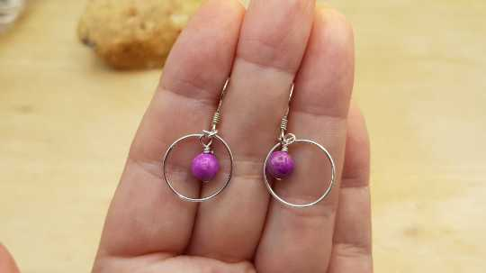 Sugilite circle earrings