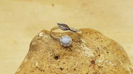 Blue lace agate leaf ring