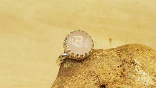 Round Rose Quartz ring 12mm