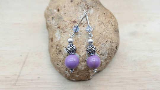 Pink Morganite /& Purple Phosphosiderite Celtic HEART STERLING Silver Earrings